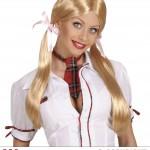 perruque femme, perruque pas cher paris, perruque blonde, perruque couettes blondes, perruque d'écolière, perruques couettes Perruque Ecolière, Blonde