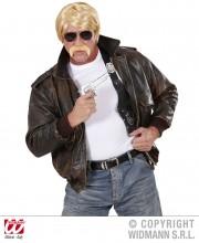 perruque pour homme, perruque pas chère, perruque de déguisement, perruque homme, perruque blonde, perruque avec moustache Perruque Agent Secret, Blonde