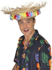 chapeaux hawaïens, chapeau hawaï, soirée hawaï, accessoires colliers de fleurs, chapeau de paille, accessoire hawaï Chapeau Hawaï, Paille et Fleurs en Tissu