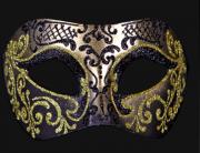 masque brillant, masque vénitien paillettes, masque vénitien, loup vénitien, masque carnaval de venise, véritable masque vénitien, accessoire carnaval de venise, déguisement carnaval de venise, loup vénitien fait main Vénitien, Brillante, Noir et Or