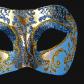 masque brillant, masque vénitien paillettes, masque vénitien, loup vénitien, masque carnaval de venise, véritable masque vénitien, accessoire carnaval de venise, déguisement carnaval de venise, loup vénitien fait main Vénitien, Brillante, Bleu et Or