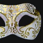 masque brillant, masque vénitien paillettes, masque vénitien, loup vénitien, masque carnaval de venise, véritable masque vénitien, accessoire carnaval de venise, déguisement carnaval de venise, loup vénitien fait main Vénitien, Brillante, Or et Blanc Nacre