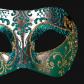 masque brillant, masque vénitien paillettes, masque vénitien, loup vénitien, masque carnaval de venise, véritable masque vénitien, accessoire carnaval de venise, déguisement carnaval de venise, loup vénitien fait main Vénitien, Brillante, Vert et Argent