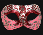 masque brillant, masque vénitien paillettes, masque vénitien, loup vénitien, masque carnaval de venise, véritable masque vénitien, accessoire carnaval de venise, déguisement carnaval de venise, loup vénitien fait main Vénitien, Brillante, Rose et Argent
