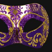 masque brillant, masque vénitien paillettes, masque vénitien, loup vénitien, masque carnaval de venise, véritable masque vénitien, accessoire carnaval de venise, déguisement carnaval de venise, loup vénitien fait main Vénitien, Brillante, Violet et Or