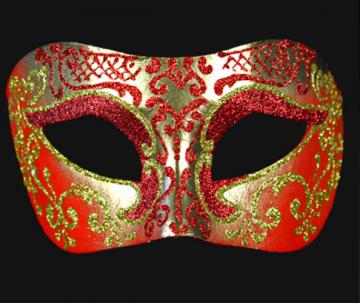 masque brillant, masque vénitien paillettes, masque vénitien, loup vénitien, masque carnaval de venise, véritable masque vénitien, accessoire carnaval de venise, déguisement carnaval de venise, loup vénitien fait main Vénitien, Brillante, Rouge et Or