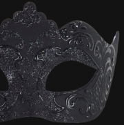masque vénitien, loup vénitien, masque carnaval de venise, véritable masque vénitien, accessoire carnaval de venise, déguisement carnaval de venise, loup vénitien fait main Vénitien, Stella, Noir