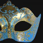 masque vénitien, loup vénitien, masque carnaval de venise, véritable masque vénitien, accessoire carnaval de venise, déguisement carnaval de venise, loup vénitien fait main Vénitien, Stella, Bleu et Or