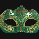 masque vénitien, loup vénitien, masque carnaval de venise, véritable masque vénitien, accessoire carnaval de venise, déguisement carnaval de venise, loup vénitien fait main Vénitien, Stella, Vert et Or
