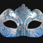 masque vénitien, loup vénitien, masque carnaval de venise, véritable masque vénitien, accessoire carnaval de venise, déguisement carnaval de venise, loup vénitien fait main Vénitien, Stella, Bleu et Argent
